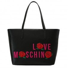 LOVE MOSCHINO Borsa Shopping Calf Ricamo Rosa Logo JC4121PP14