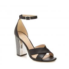 GUESS (Abriana) Sandalo Pelle Tacco Largo Argento FLIAN1LEA03