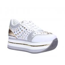 GUESS (Hamptyn) Sneaker Fondo Alto Laminato Borchie FL5HAMELE12