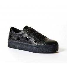 GUESS (Fahlstar) Sneaker Pelle Vernice Fondo Alto Gomma Stelle FLFHS3LEA12