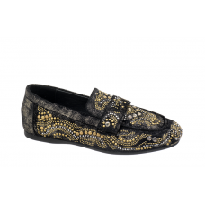 REBECCA WHITE Mocassino Camoscio Accessori Oro Nero W1872RW810
