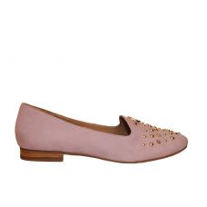 Ballerina Pantofola Tacco Basso Pelle Nubuck Cuoio Borchie Armani Jeans AJ Glicine Rosa