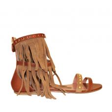 Sandalo Infradito Pelle Cinturino Borchie e Frange Twin Set Cuoio