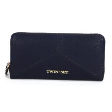 TWIN SET Portafoglio Donna Ecopelle Zip Intarsio Blu Infinito AS6PV1